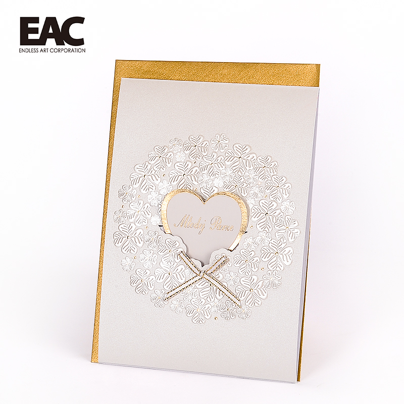 Indian favors elephant embossing love heart handmade wedding invitation cards photo 2018
