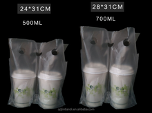 Milk tea coffee cup packaging bag / plastic hang hole bag / mini small plastic bags