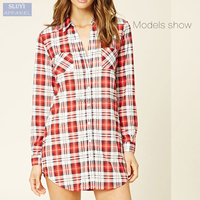 cheap custom new fashionable home red bottom-up long sleeve plaid nightshirt for women