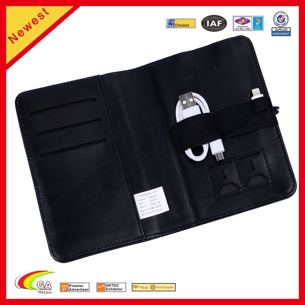 RFID Blocking Men's Powerbank Travel Holder Leather Passport Wallet