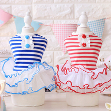 Navy Style Stripe Sweet Dog Dress Dog Apparel Fashion Summer Dresses Wholesale Pet Products Dog Garment