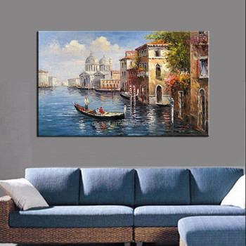 Wholesale Price Hand Painted Beautiful Venice Landscape Oil Painting on Canvas for Living Room Decoration Painting