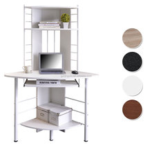 White stainless steel computer table with bookshelf