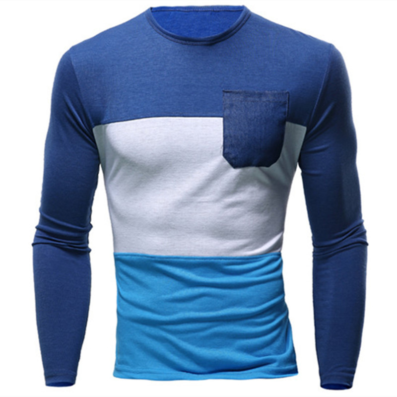 Fashion quality 3 colors patchwork for choice O neck long sleeve funny <strong>t</strong> <strong>shirts</strong> wholesale