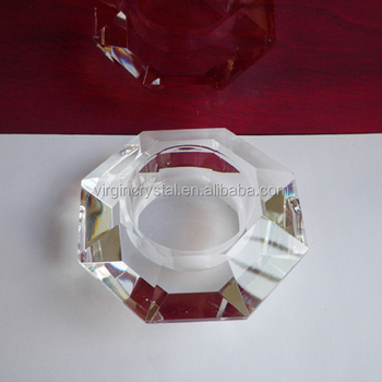 Octagon Shaped Clear Crystal Glass Votive Candle Holder for Novelty Wedding Gifts, Logo Customized