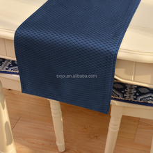 Jacquard Table runner Hotel Quality Waffle Fabric Mat Reversible Stain ResistantTable Mat 13x72inch Navy Blue