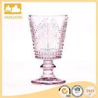 Pink bead embossed glass wine goblet
