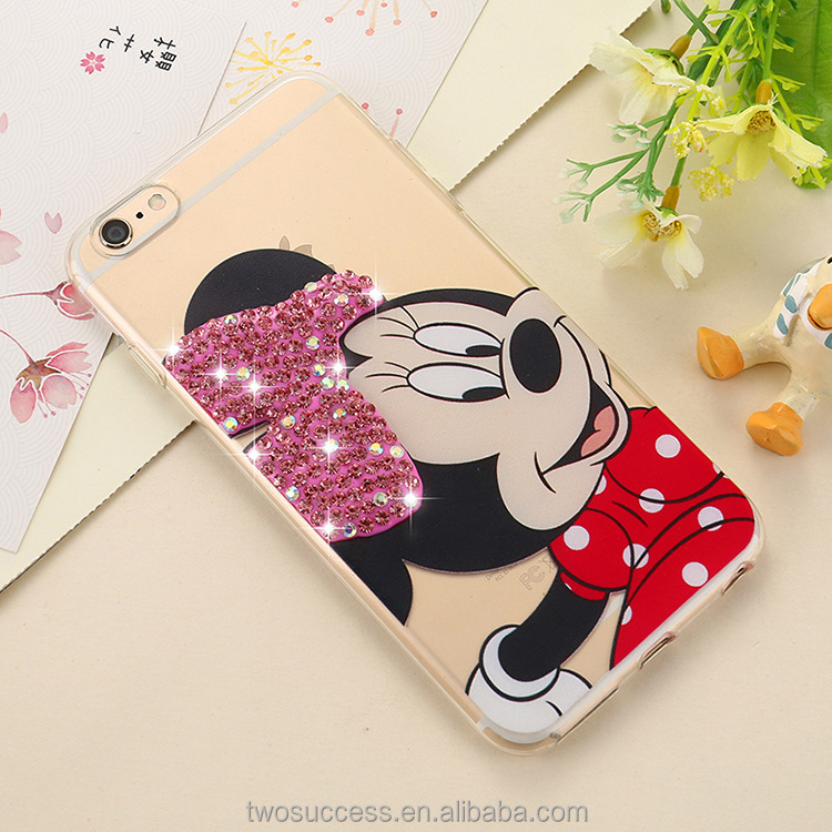 2017 Hot Selling Mickey Mouse Cartoon TPU Diamond Phone Back Cover Case for iphone 7