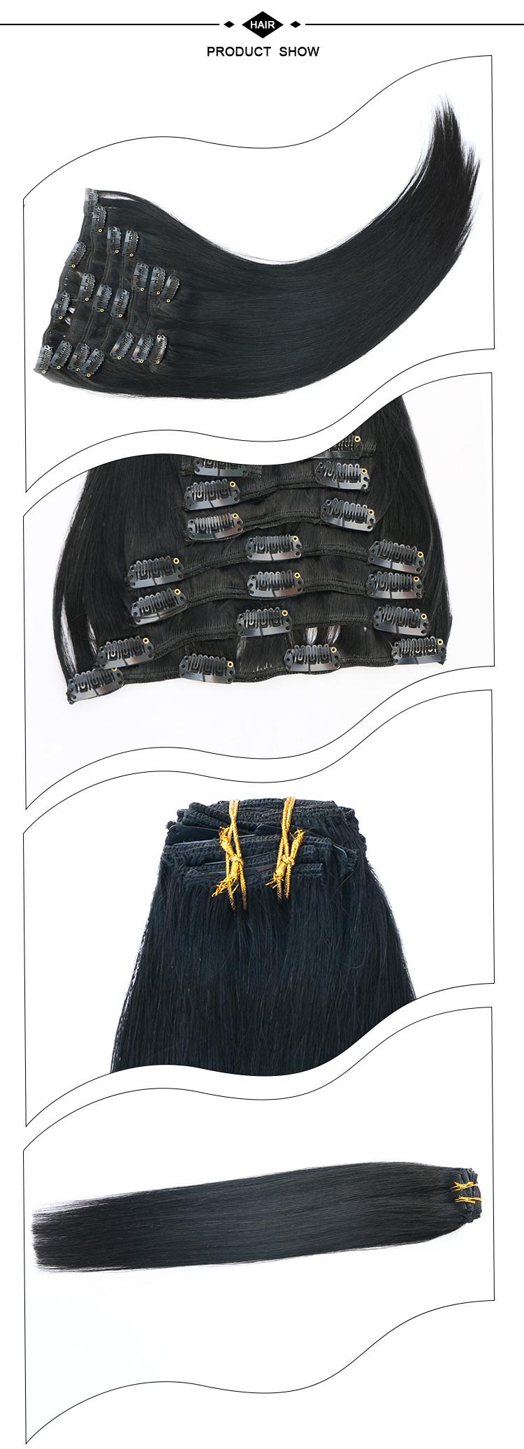 XDhair 100 gramas 8 pcs por saco de cor 1 jet black preço de atacado dupla desenhada grampo no cabelo humano remy extensões