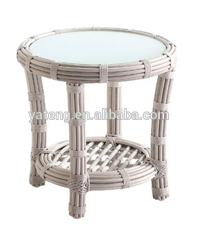 Outdoor Rattan Furniture Small Round Wicker Coffee Table