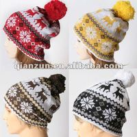 snowflakes rudolph reindeer knitted pom pom beanie bobble fall winter hat