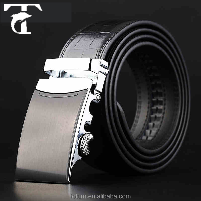 2016 latest design men auto buckle genuine leather belt made by leather belt making machine