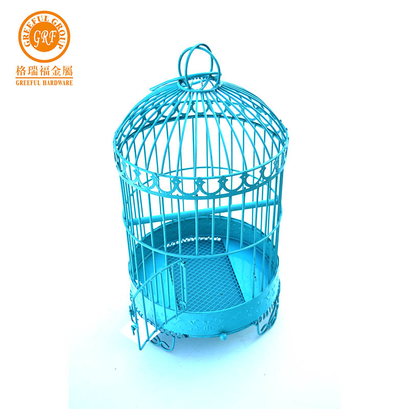 Pet Products small bird cage blue round cast iron bird cage for feeding birds