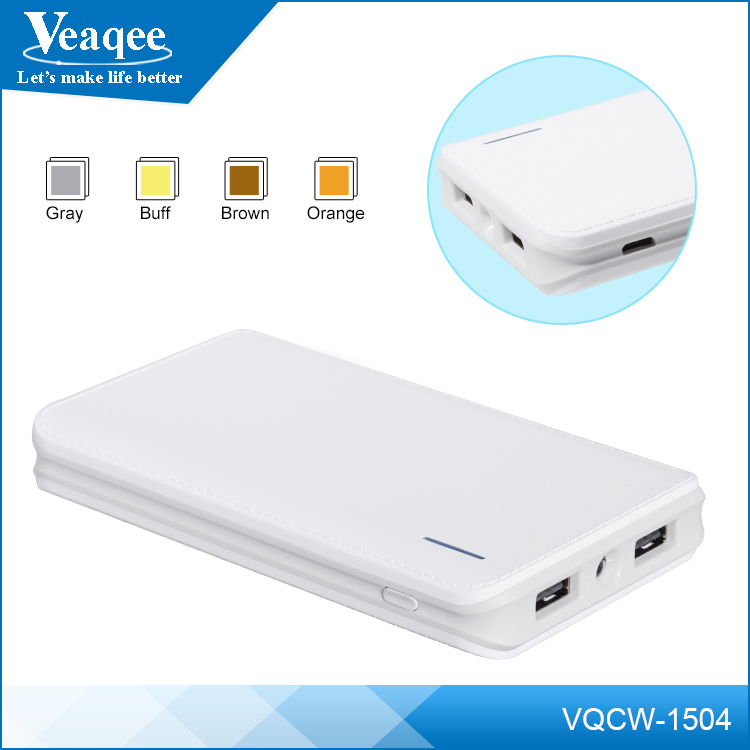 Veaqee manufacturer ultra slim 2 USB universal portable power bank 10000mah with led lighting