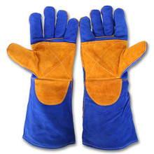 "16"" cheap long blue thinsulate leather welding working gloves with yellow reinforced palm"