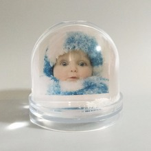cute baby photo frame plastic photo snow globe picture insert snow dome