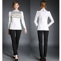 High quality long sleeve jacquard t shirt for woman, wholesale blouse for woman