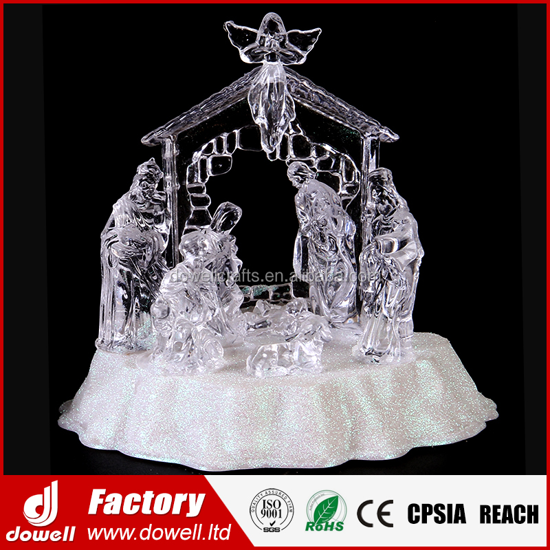 Icy Crystal Acrylic LED Figurines set Religious Christmas Nativity Scene with Angel For Xmas Decorations