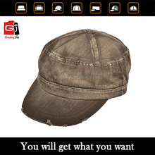 100% cotton wholesale military cap with flat embroidery black military peaked cap