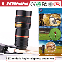 LIGINN factory price 12X zoom Telephoto mobile phone camera telescope Lens with universal clip for nikon smartphone