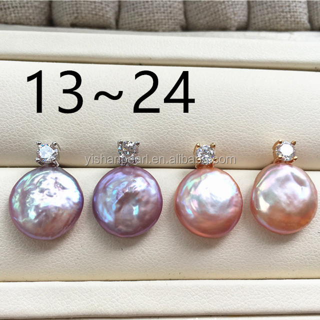 10PCS 925 Sterling Silver Jewelry 12-14mm Baroque Coin Pearl Stud Earring other
