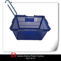 Two handles plastic supermarket shopping basket with 27L(DN-19)