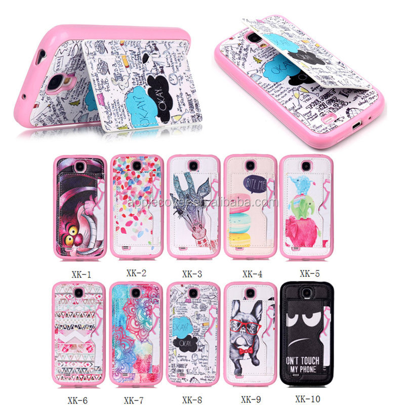 China Wholesale Leather Back Cover for Samsung Galaxy S4 with Stand , for Samsung S4 i9500 Cover Case