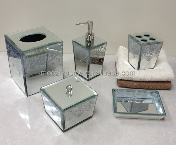 Luxury home decor accessories high end mirror glass for Mirrored bathroom set