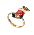 Metal alloy Christmas stocking Ring