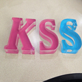 embossing acrylic 3d letter sign with colour