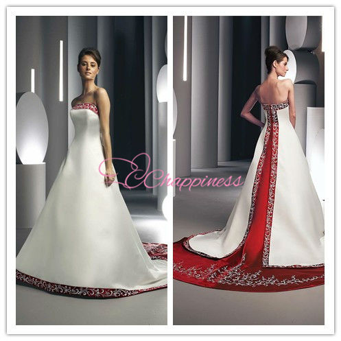red and white wedding dresses 2012 silk bridal gown