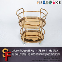 Golden Rolling dining trolley Cart