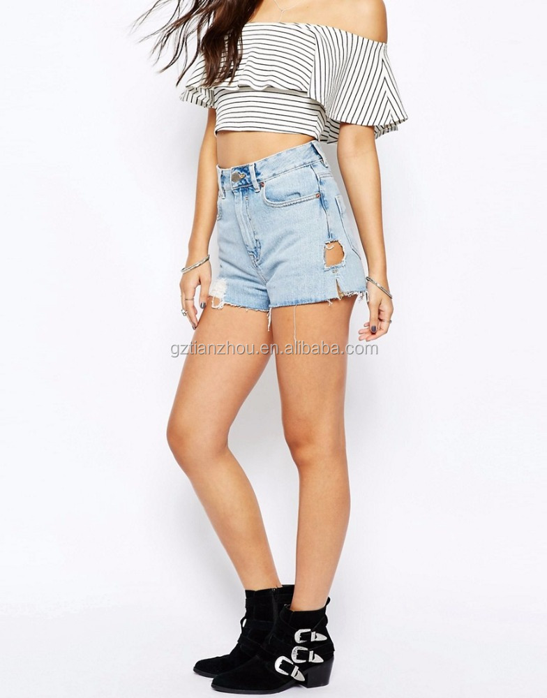Cheap Wholesale Sexy Denim Side Split Shorts With Holes High Waist Mini Jeans Pants