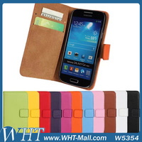for Samsung Galaxy S4 Mini Leather Case Luxury Wallet Cover Genuine Leather Case for Galaxy S4 Mini i9190