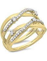 0.40 Carat (ctw) 14K Gold Round Diamond Ladies Anniversary Wedding Band Swirl Enhancer Guard Double Bands