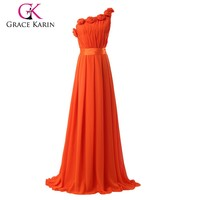 2015 Grace Karin Orange One Shoulder Long Chiffon Evening Dresses With Rose Decorated CL6020