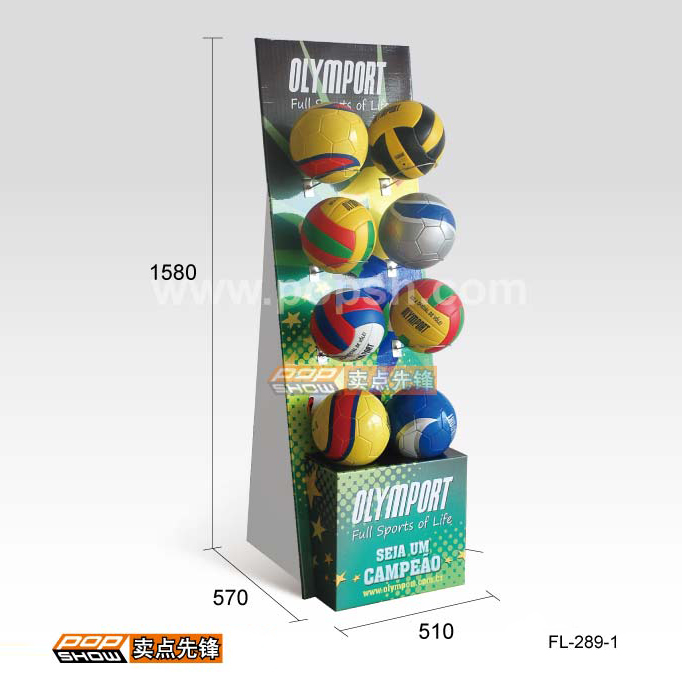 GL8415Retail advertising with steel hooks football cardboard basketball display <strong>stand</strong>