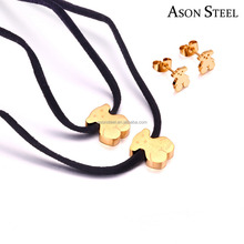 Best Selling Products Bronze Double Black Rope Chain Cute Animal Bear Jewelry Necklace with Gold Bear Earrings