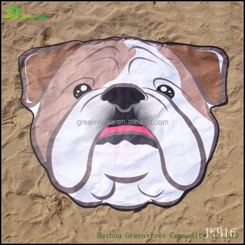 Cute dog design animal print beach towel almost round towel cheap price wholesale microfiber round beach towel