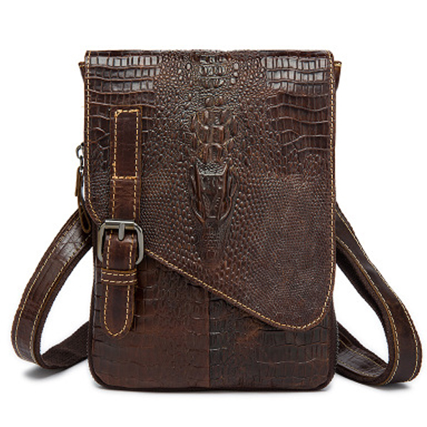 <strong>M010</strong> Alibaba wholesale crocodile brown bags male small shoulder bags for man