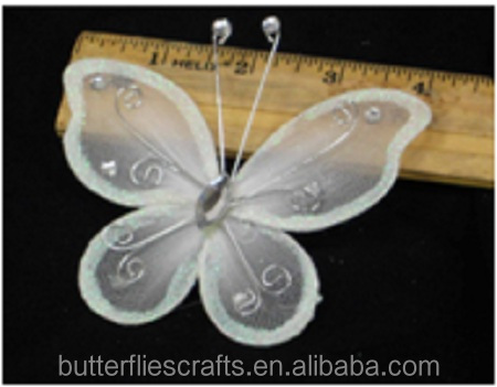 White silk stocking butterfly for floral arrangement and wedding decorations