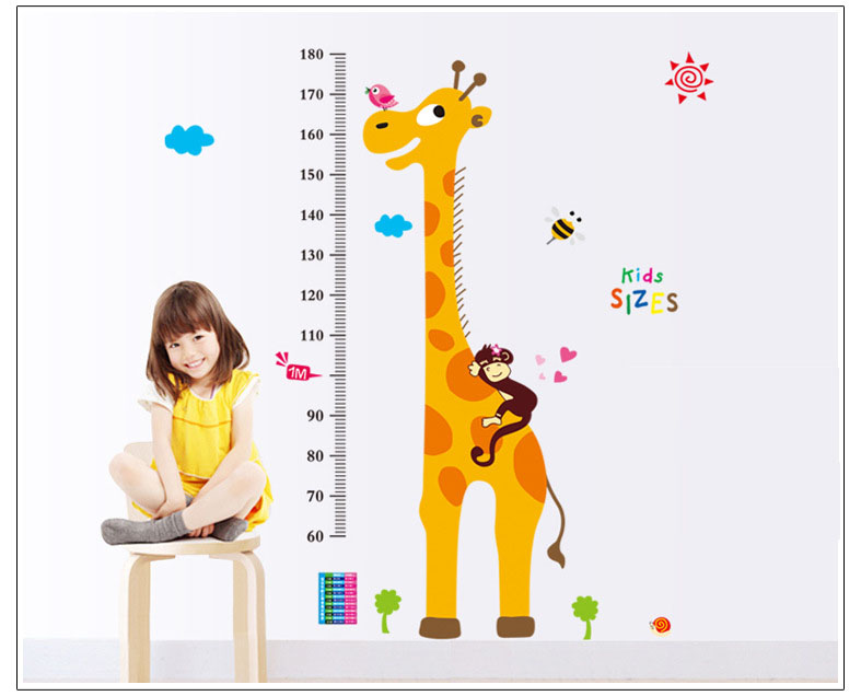Giraffe Kids Height Growth Measurement Chart Removable Diy Vinyl Quote Wall Sticker Poster Home decoration
