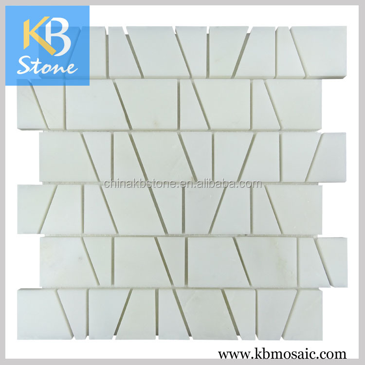 New design irregular trapezoid china white marble mosaic tile, bathroom wall tiles