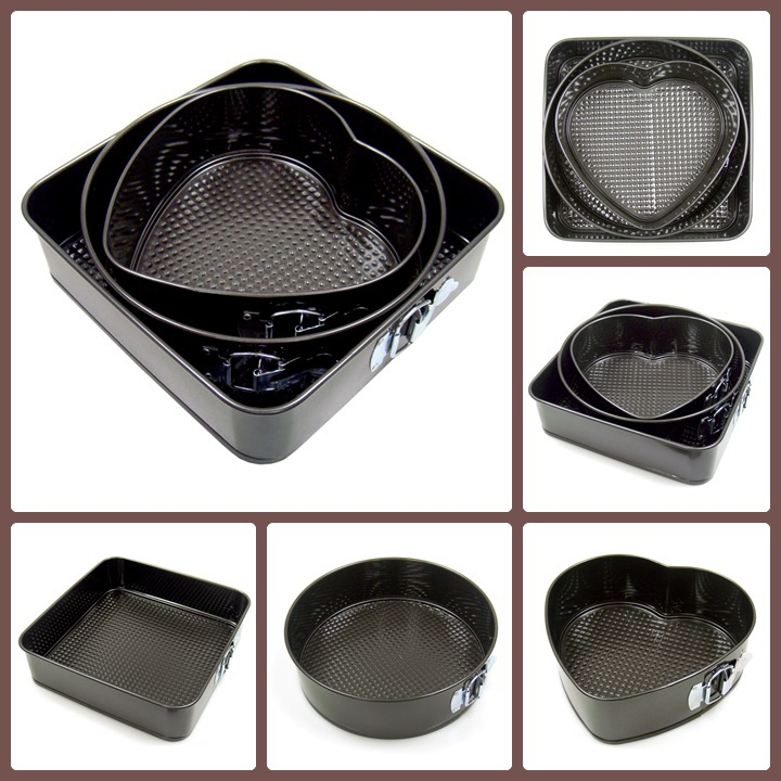 Set of 3 Different Shapes Adjustable Non-stick Coating Kitchen Springform Cake Baking Pan