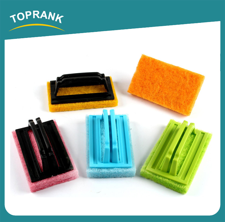 High Quality Colorful Kitchen Scrub Cleaning Dish Pot Sponge Scourer Sponge Scouring Pad With Handle