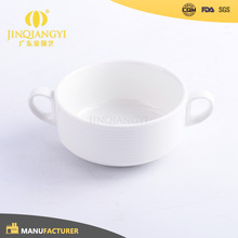 Hotel Restaurant price cheap porcelain ceramic soup bowl with two handle
