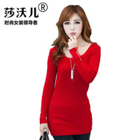 2015 Spring new Women Korean version of the Slim and long sections hedging round neck sweater knit shirt 1618