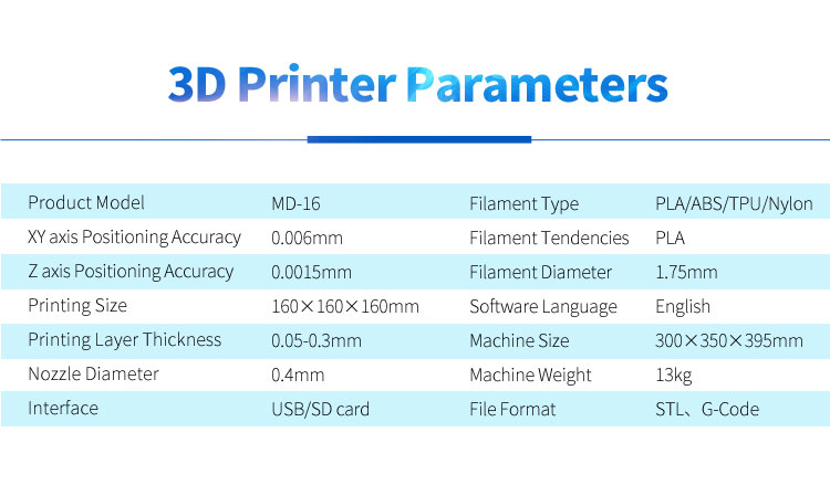 2000 sets MINGDA MD-16 professional education PLA desktop 3d printer machine at factory price for sales