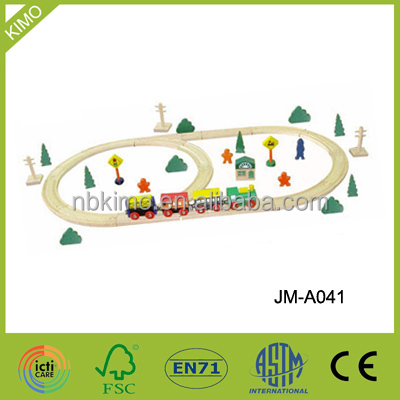 Children wooden railway playing toys