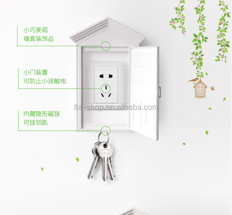 Creative House Design Waterproof Anti-shock Electric Plug Cover, Strong Magnetic Key Holder Baby Protector Plug Socket Cover